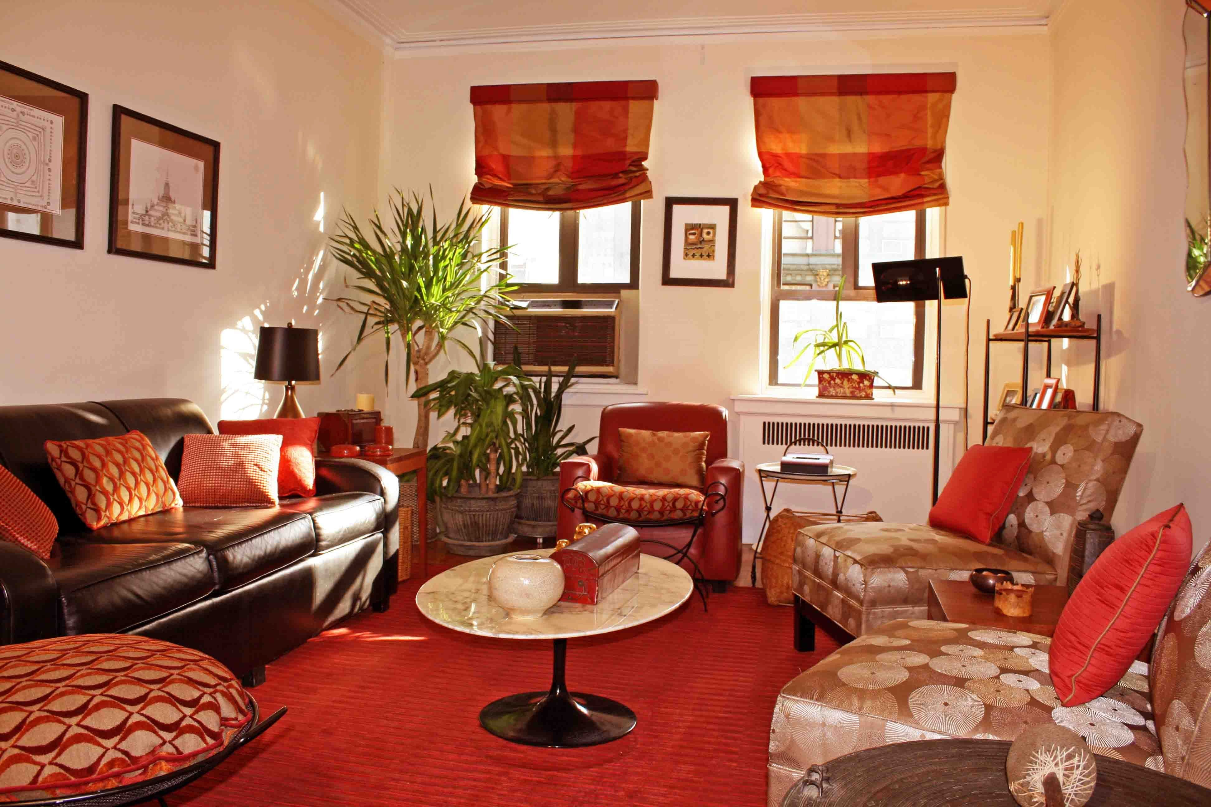 Fascinating Small Living Room Design Ideas With Red Rugs Laminate Floor And Brown Leather Plose Sofa Living Room White Living Room Red Best Living Room Design