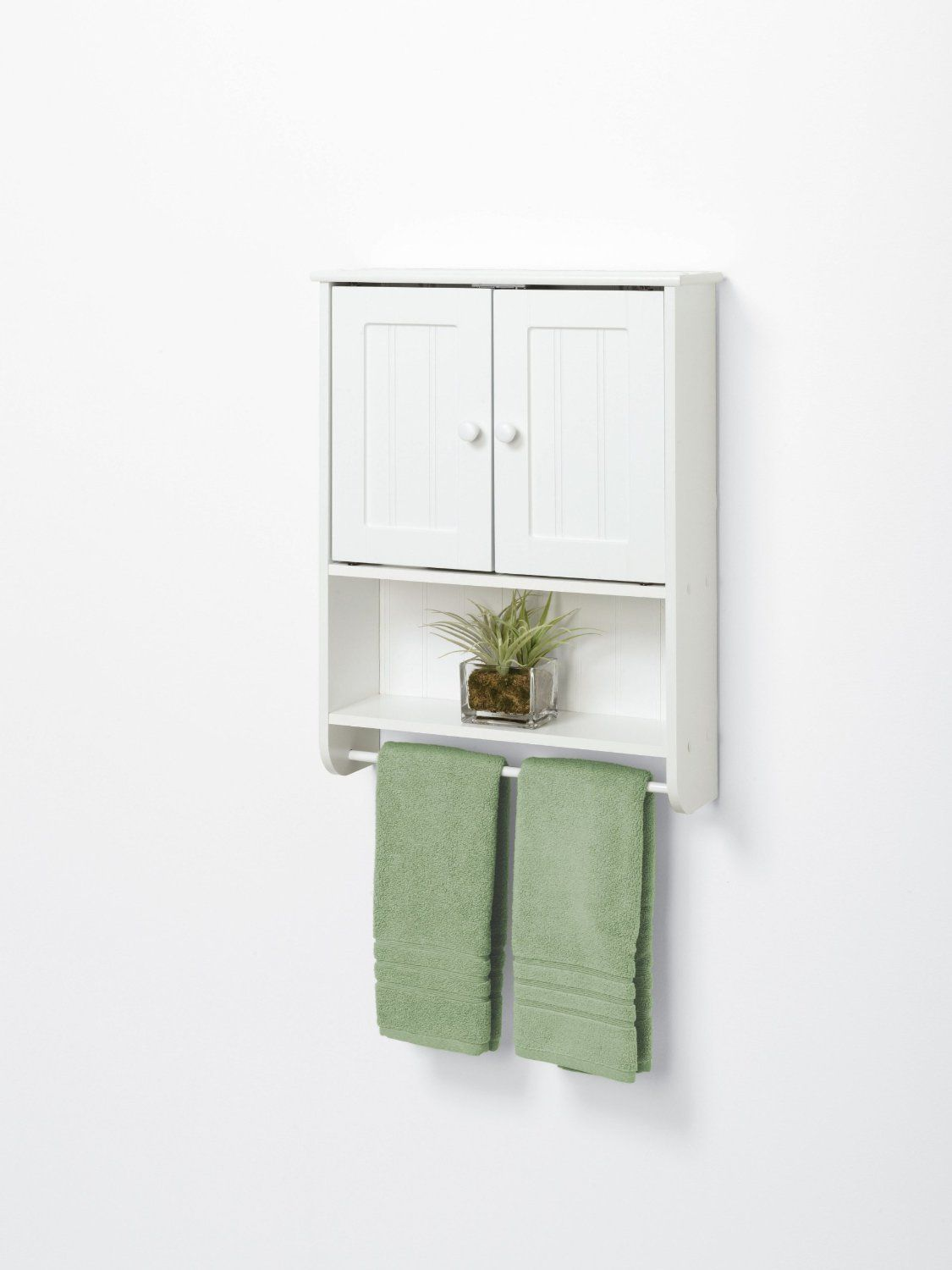 White Medicine Cabinet Shelf Wall Mount Hanging Towel Bar Bathroom