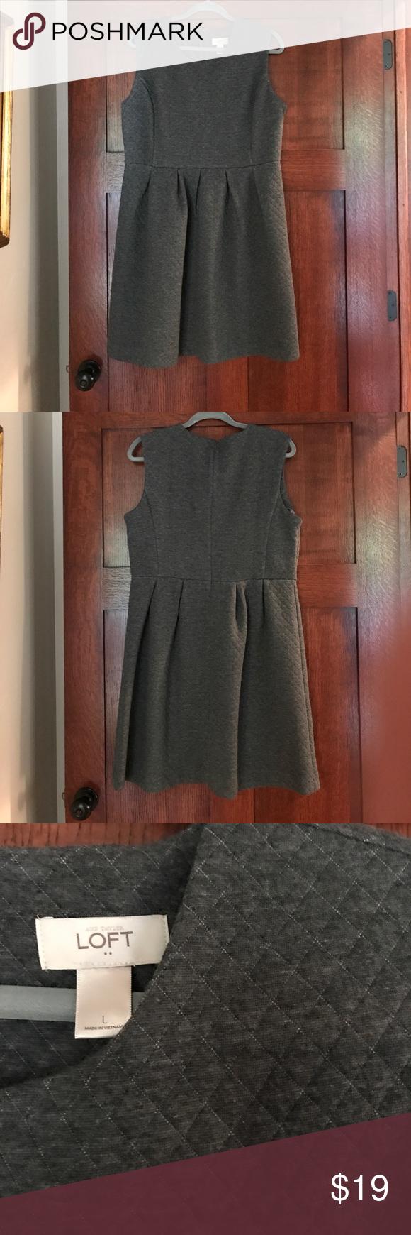 Loft L Grey Waffle Knit Dress Knit Dress Dresses Waffle Knit [ 1740 x 580 Pixel ]