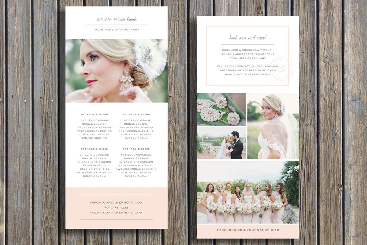 wedding photographer pricing guide template by