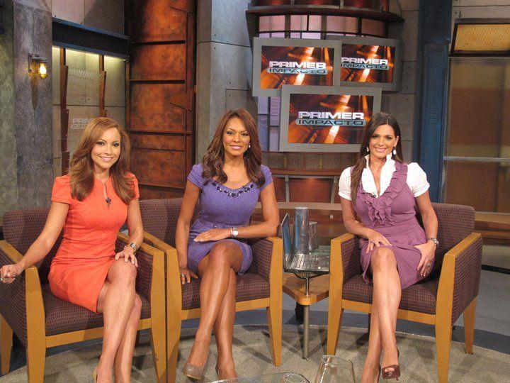 Women news anchor shows sexy legs can