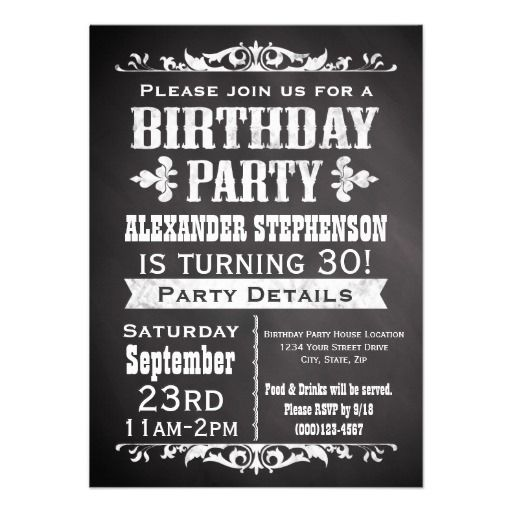 Vintage Slate Chalkboard Birthday Party Invitation  Party