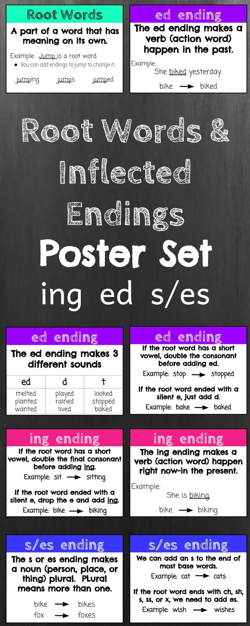 Set Of 8 Posters To Teach Root Words And Inflected Endings Ing Ed And S Es Root Words Teaching Words