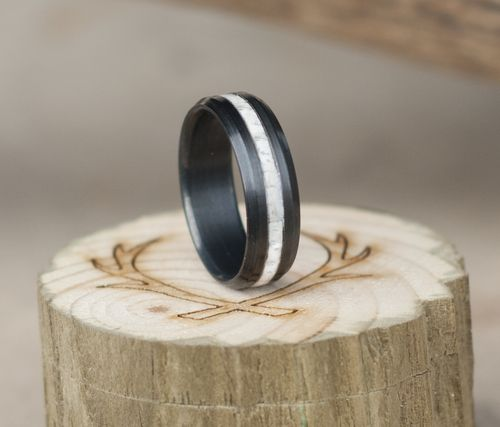 Handmade wedding elk antler wedding ring set on firetreated black