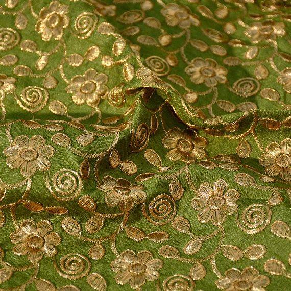 Dark Green And Golden Flower Design Embroidery Silk Fabric Bridal