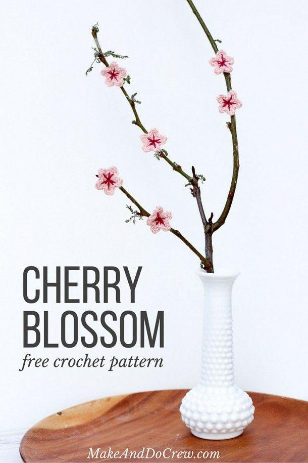 Free Crochet Cherry Blossom Pattern | Flores de cerezo, Patrón de ...