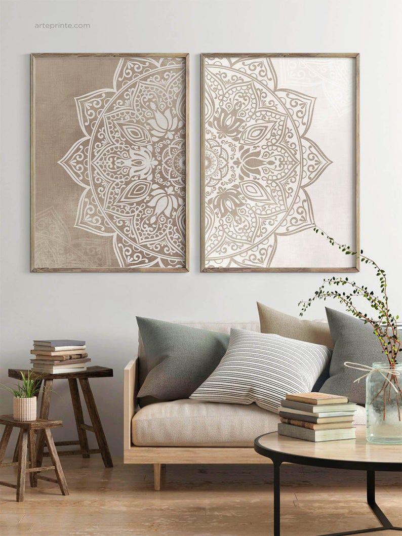 Original Beige Taupe Mandala Wall Art Set of 2 Pri