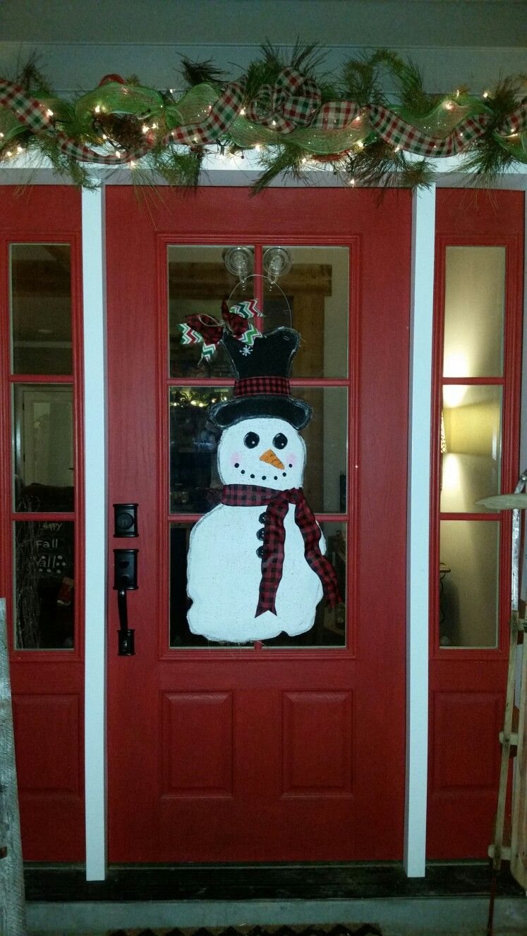My winter snowman design front door decor pinterest front door