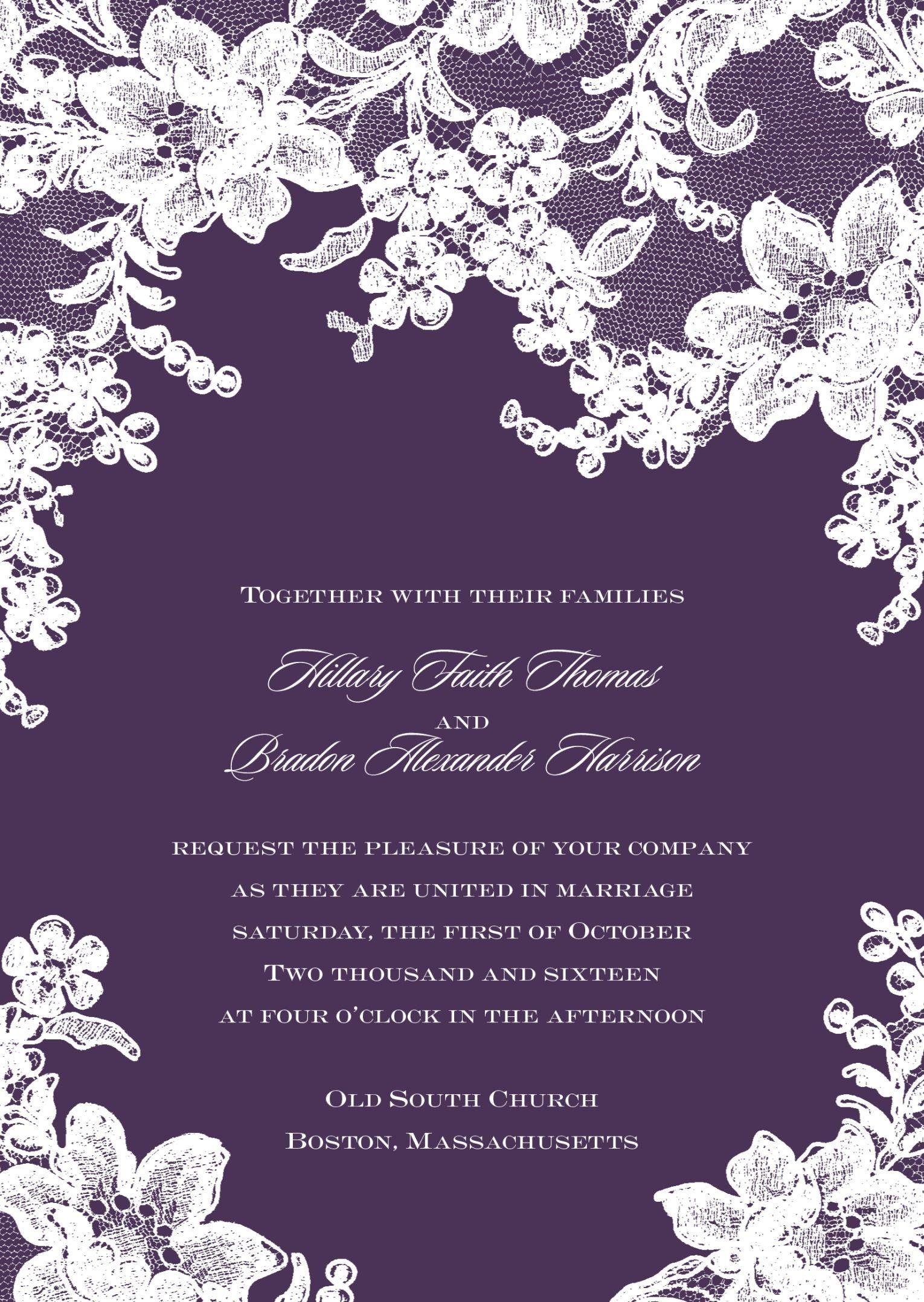 Floral Lace Wedding Invitation Lace Wedding Invitations Wedding Invitations Classic Wedding Invitations