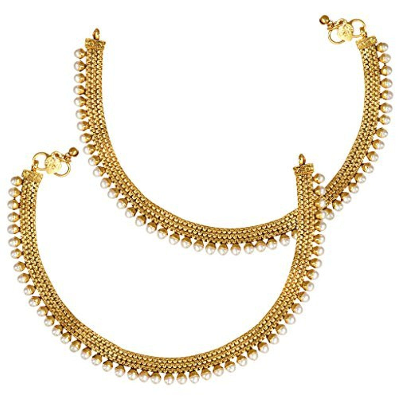 Ethnic Indian Bolywood Jewelry Set Faux Pearl Polki Gold Tone Anklet Payal  Setaban0245wh By Adiva