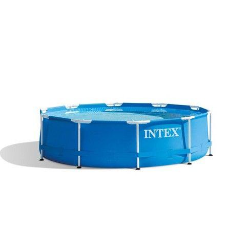 Intex 10 X 2.5 Foot Round Metal Frame Backyard Above Ground ...