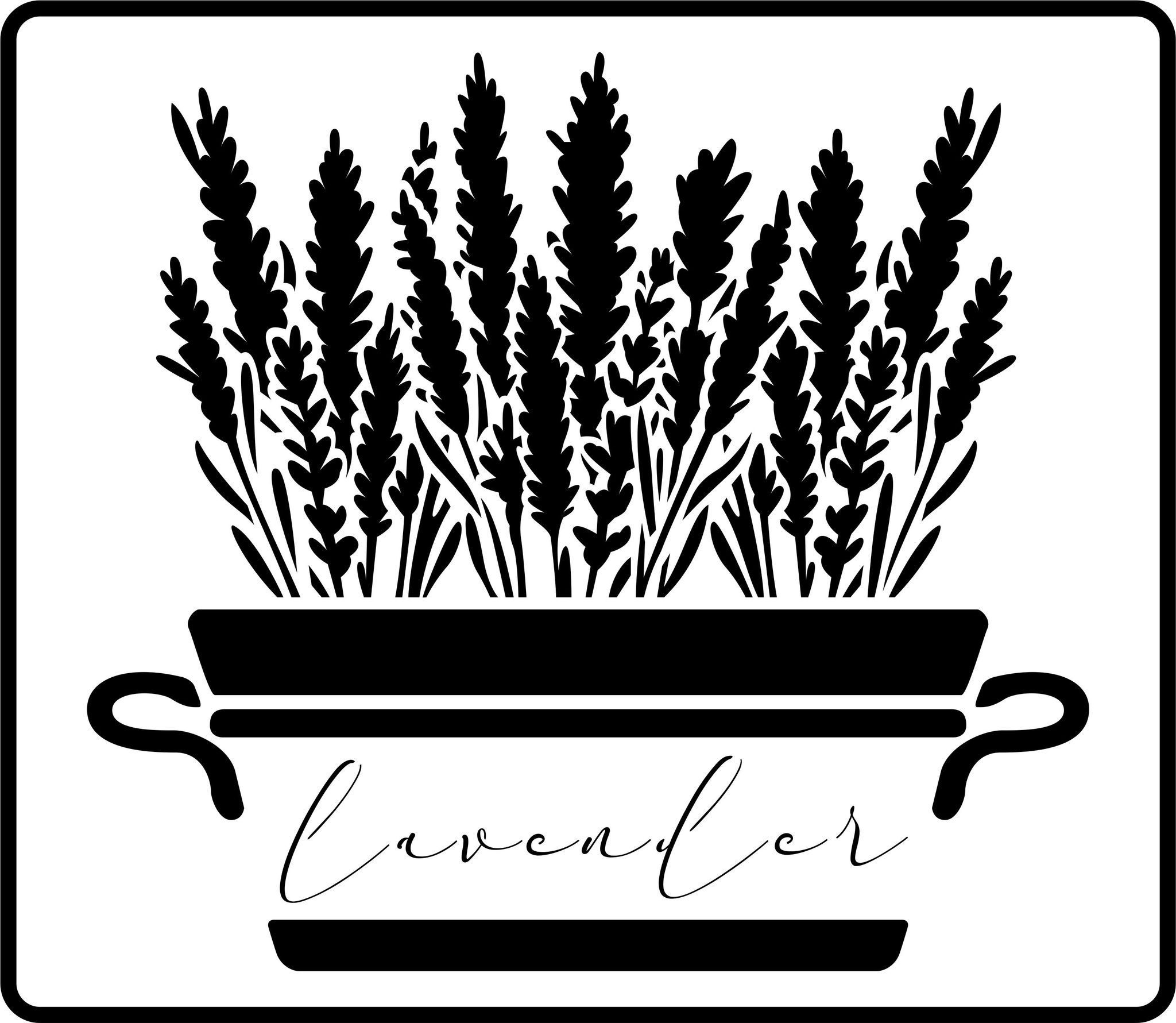 """JRV Big Lavender Plant Stencil 11.5"""" x 13.25"""" This stencil features a tub of lavender with the words lavender in cursive font on the tub. 15ml Thick"""