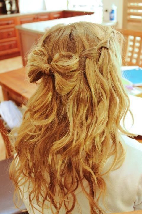 photo of hair styles a bow and waterfall braid is the wedding hair for 5496