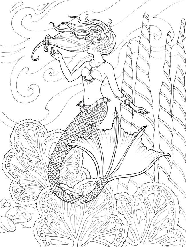 Zeemeermin Mako Mermaids Kleurplaat Mermaid Coloring Page Printable By Dover Publications