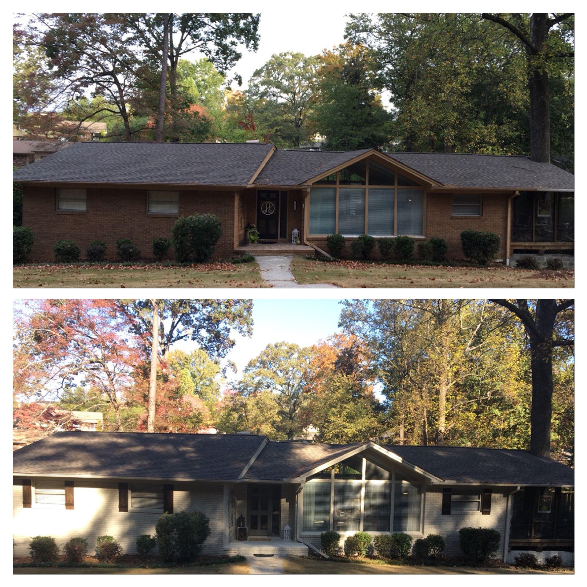 Before and after painted brick valspar duramax oatbran trim valspar foothills shutters cedar stain jacobean