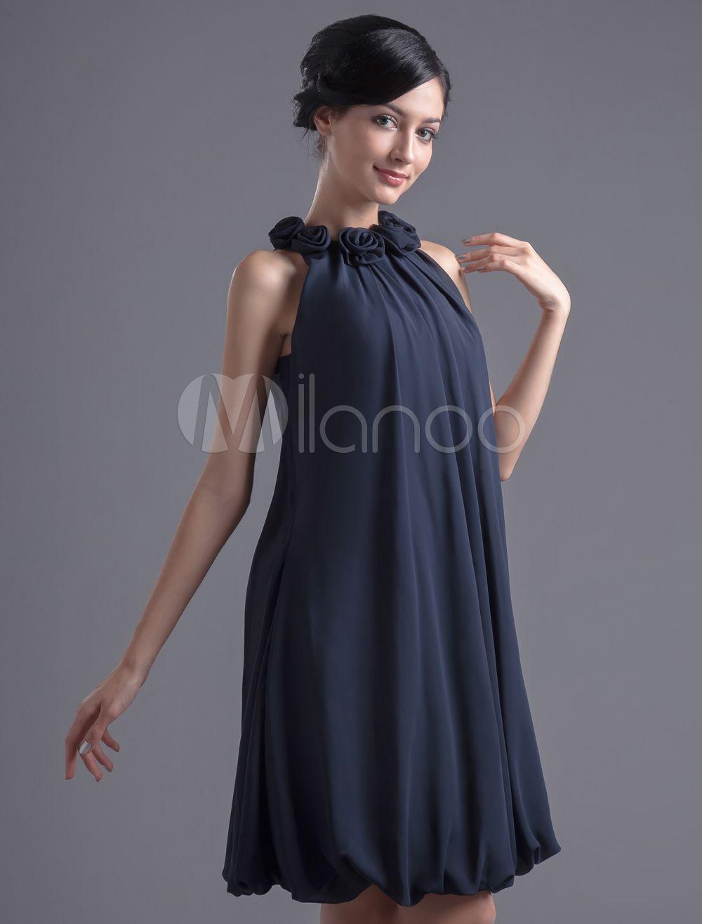 robe de cocktail bleue marine fonc e avec fleur robes pour. Black Bedroom Furniture Sets. Home Design Ideas