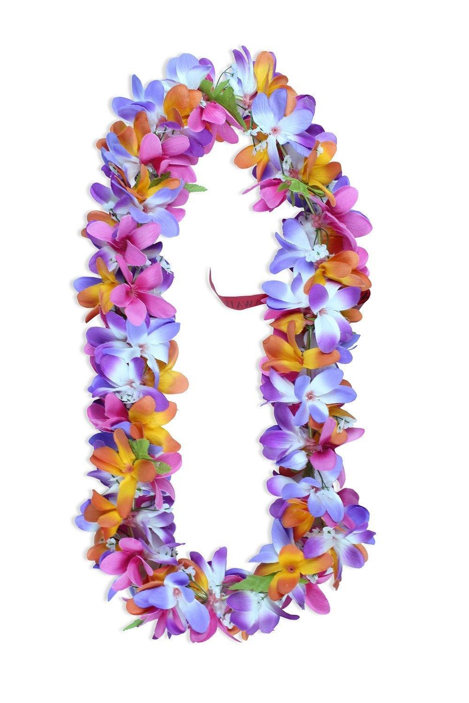Hawaiian Lei Party Luau Floral Silk Fabric Plumeria Flower Dance Hawaii Pink
