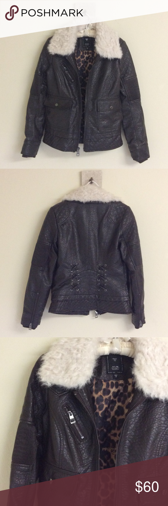 Guess Faux Leather Jacket with Fur Collar   Fur leather ...