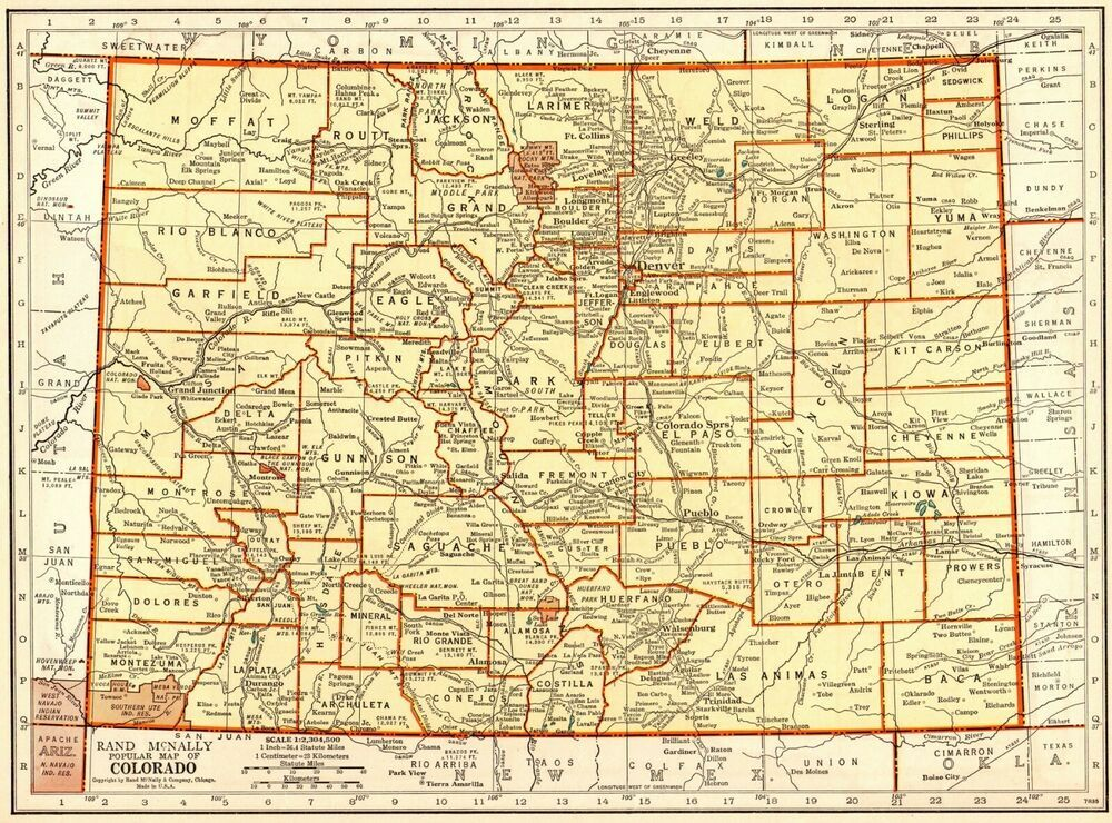 1939 Vintage Colorado Map Antique State Map Of Colorado Gallery Wall Art 7552 In 2020 Colorado Map Art Gallery Wall Map Of Florida