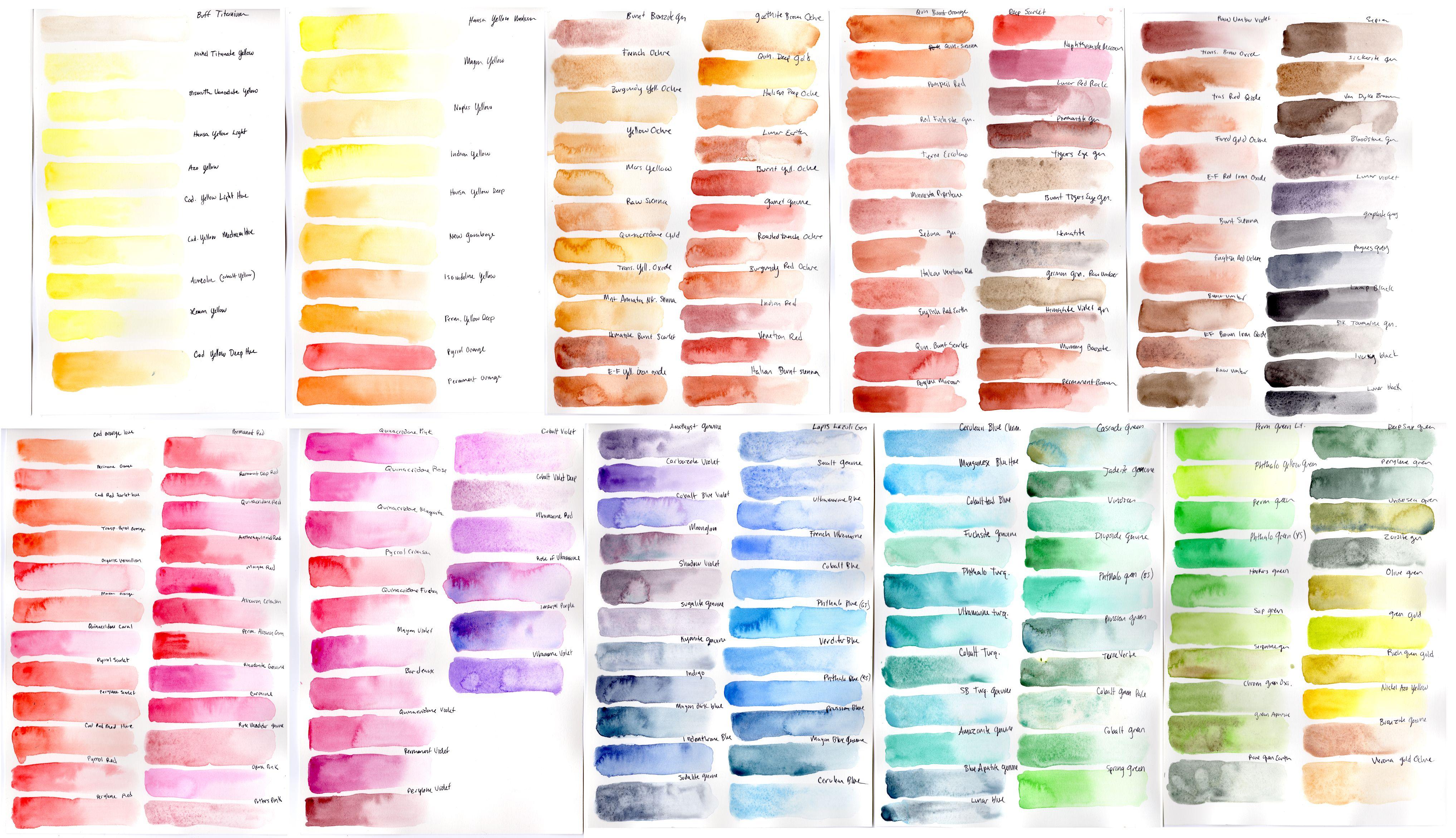 Daniel Smith Watercolor 238 Dot Color Chart Google Search
