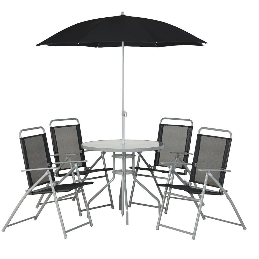 Round Patio Set Black 6pc Flat Garden Furniture Patio