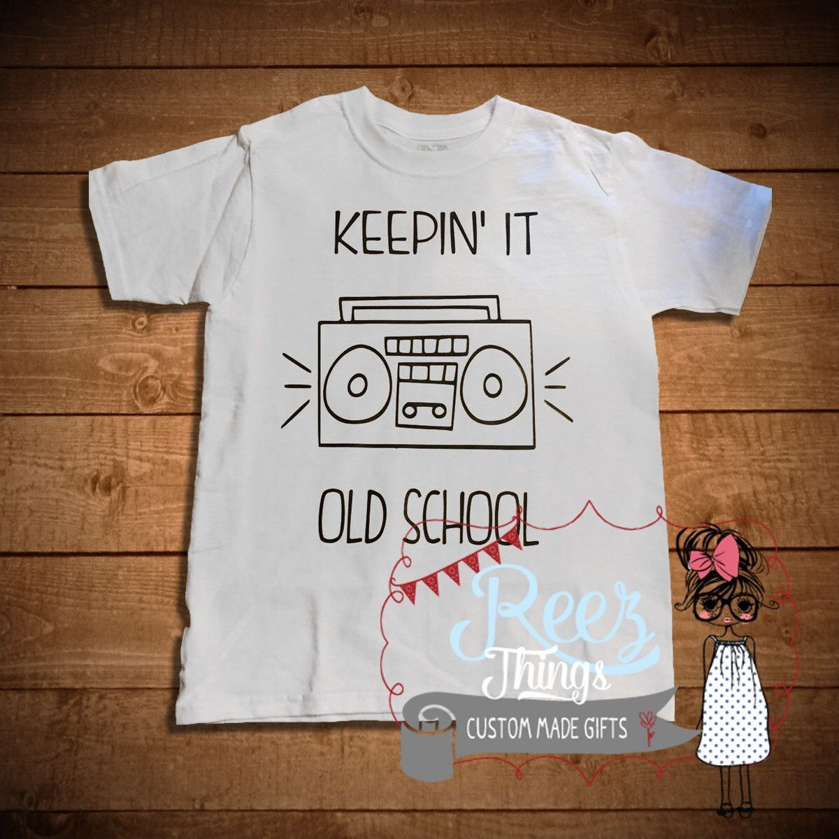 Funny Kids Tshirt Childrens Shirt Tops Keeping It Old School Baby Shower Infant Birthday