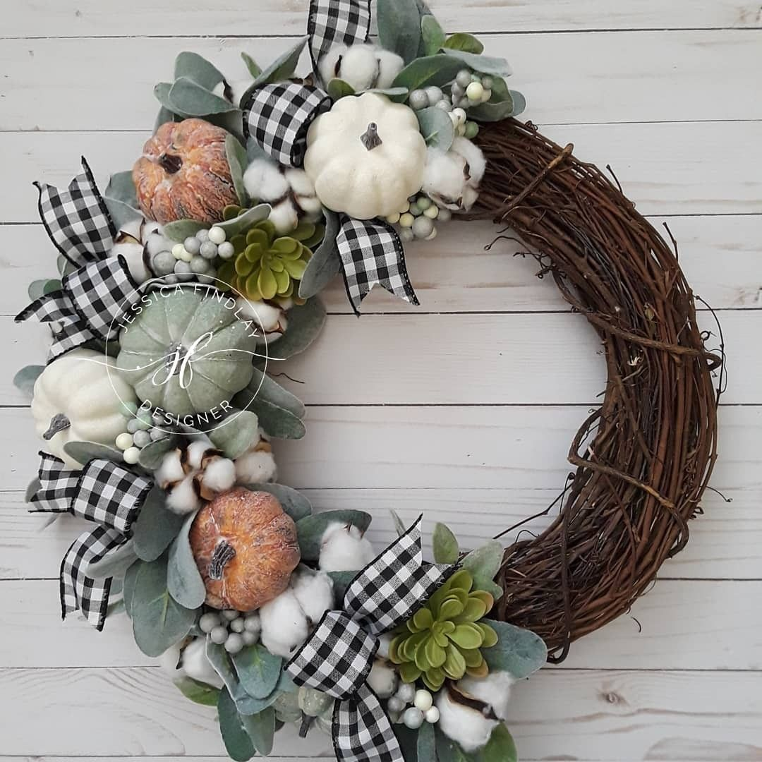 Diy Fall Rustic Farmhouse Door Wreath With Buffalo Plaid Lambs Ear Cotton And Pumpkins Grapevine Fall Front Porch Decor Fall Wreaths Fall Decorations Porch