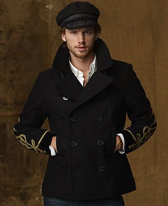 Denim  Supply Ralph Lauren Coat, Wool-Blend Pea Coat - Mens Denim  Supply Outerwear - Macy's
