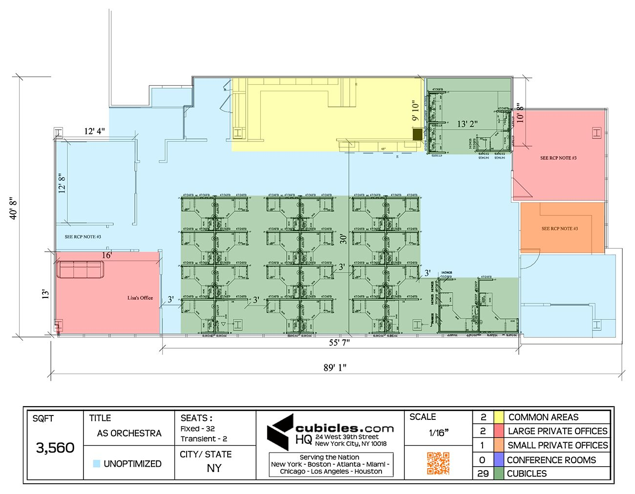 Office layout plan with 29 cubicles for 32 people on sqft for Cubicle floor plan
