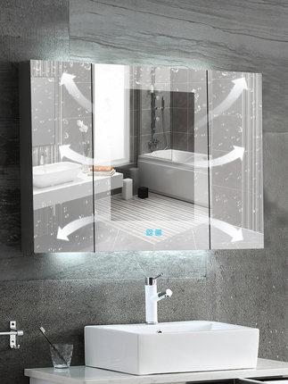 智能浴室镜柜镜箱挂墙式带灯卫生间镜子带置物架不锈钢防雾镜柜 Tmall