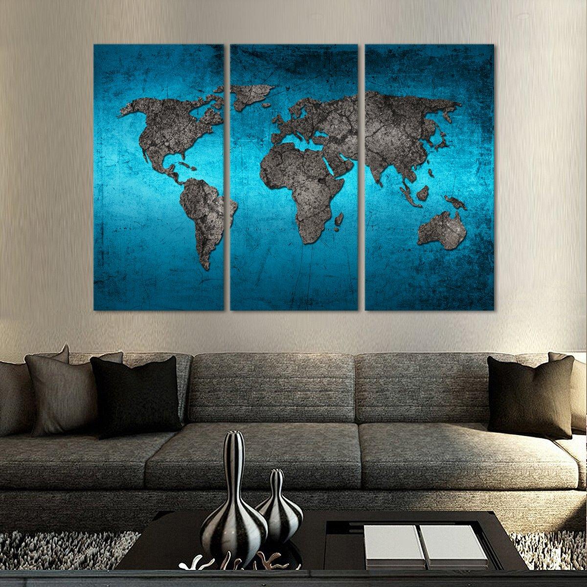Ocean World Map Multi Panel Canvas Wall Art Map Canvas Painting Map Wall Art World Map Wall Art