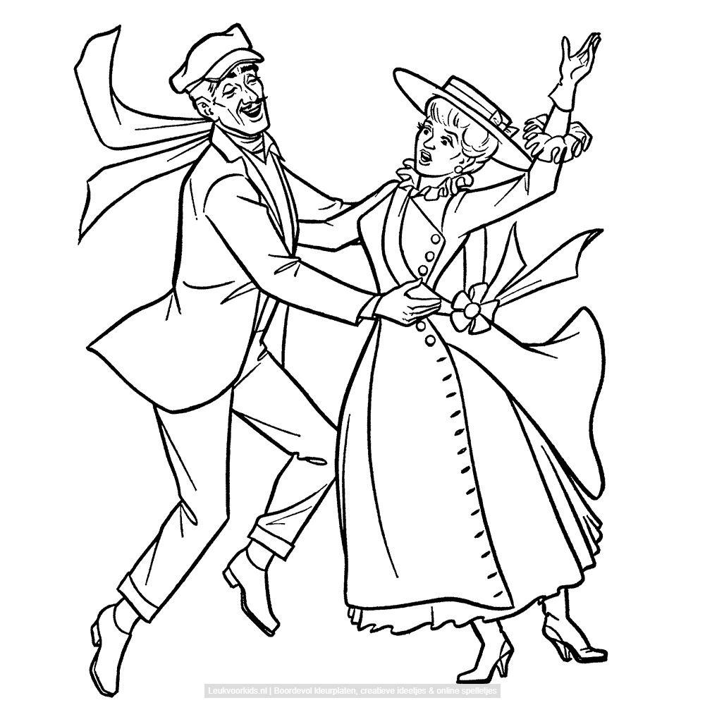Leuk Voor Kids Bert De Schoorsteenveger En Mary Poppins Mary Poppins Kleurplaten Illustraties
