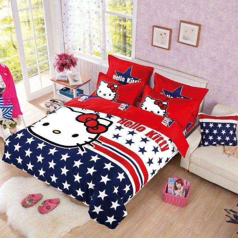 67e90729a Home Textiles, Brand Logo Hello Kitty Bedding, Include Duvet Cover Bed  Sheet Pillowcase