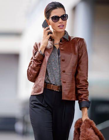 Leather jacket, nappa lamb, Trousers, Shirt, Sunglasses, Belt, Necklace