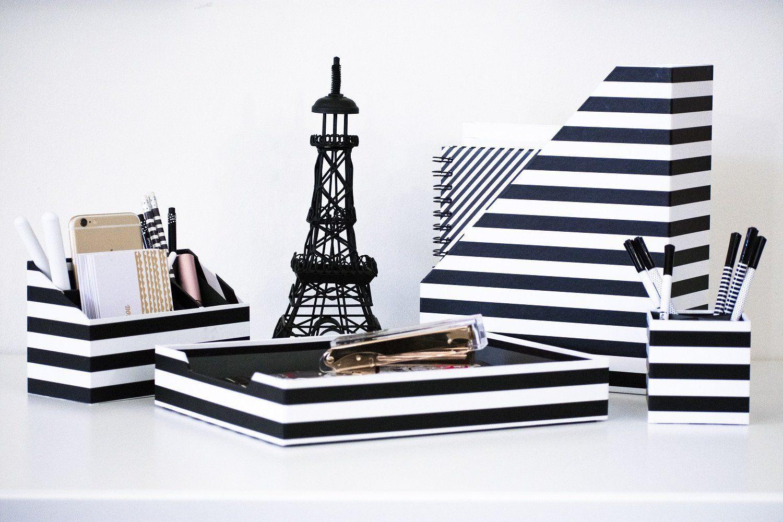 Black And White Desk Organizer 4 Piece Desk Accessories Set
