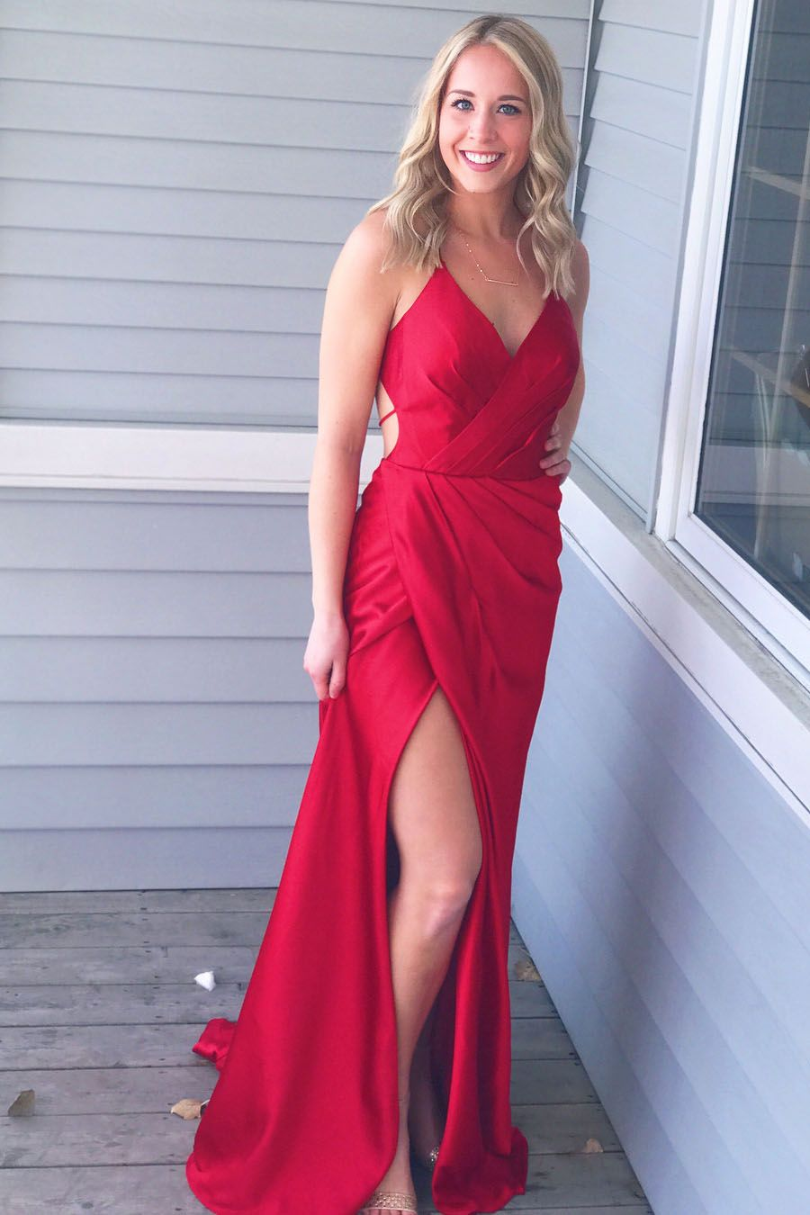 Simply gorgeous red long prom dress with side slit emmaueuedresses