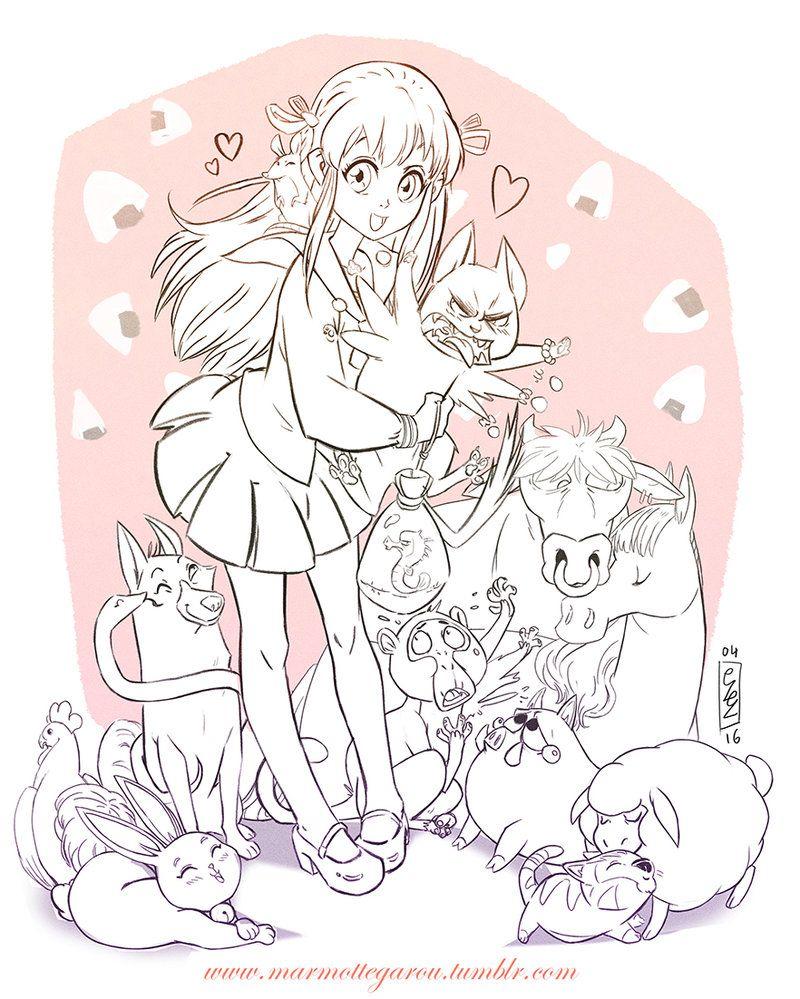 Fruit Basket Lineart Version By Marmottegarou Deviantart Com On Deviantart Anime Lineart Fruit Basket Art