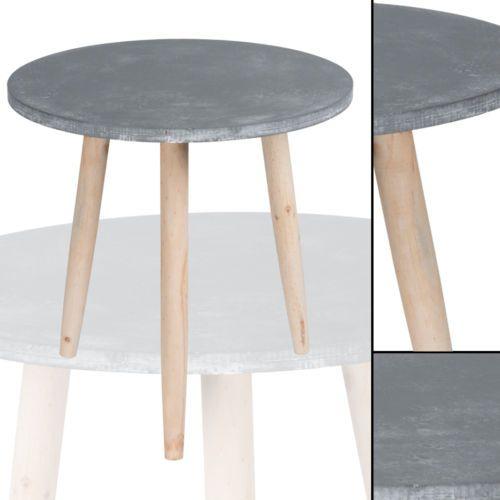 Beistelltisch 007 GRAU Betonoptik Rund Massiv Pinienholz  Abstelltisch Nachttisch