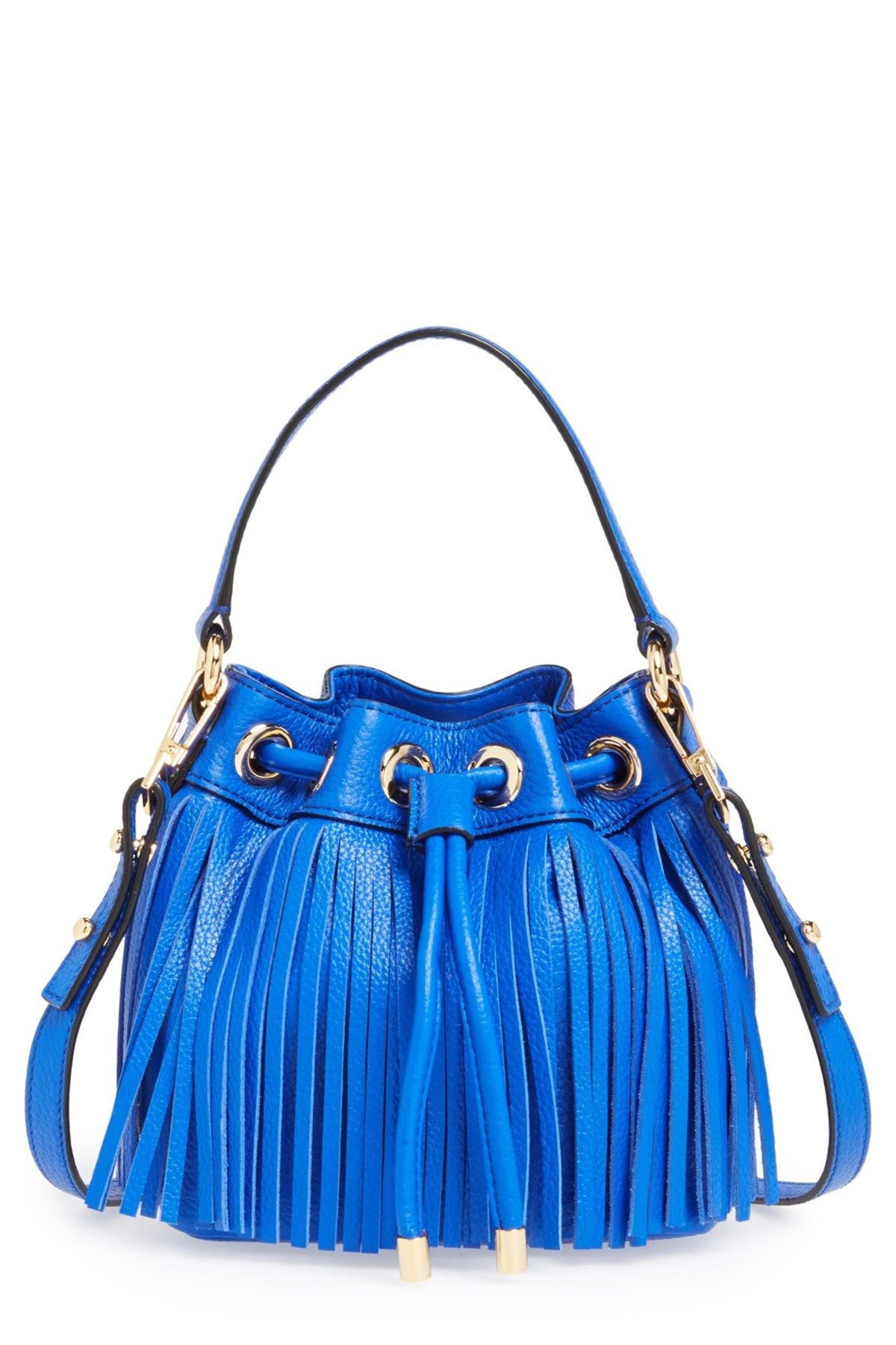 'Small Essex' Fringed Leather Bucket Bag