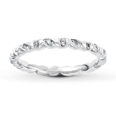 0368f3429 Stackable Ring 1/10 ct tw Diamonds Sterling Silver | Sterling silver ...
