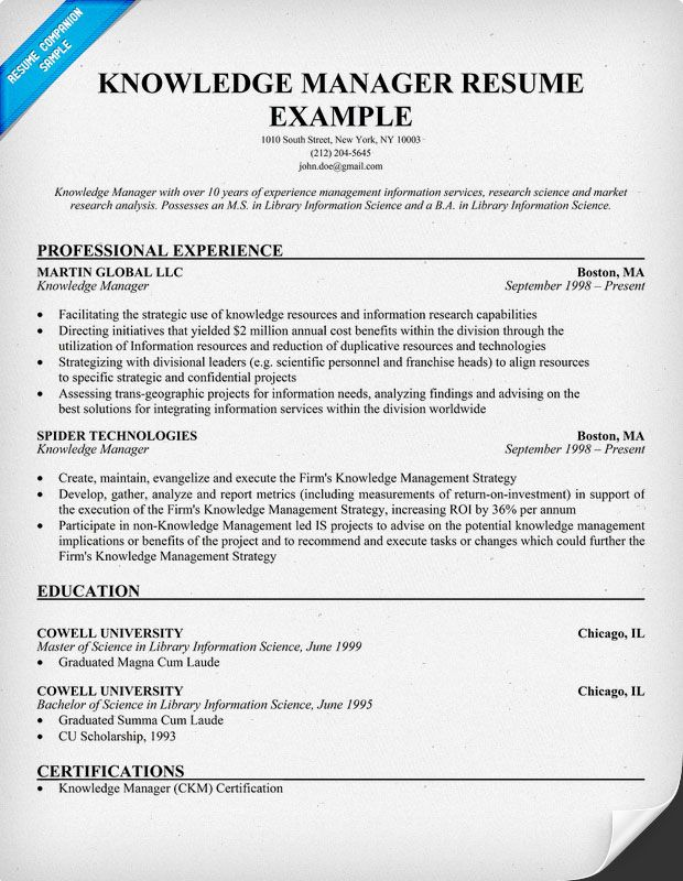 Free Knowledge Manager Resume Example