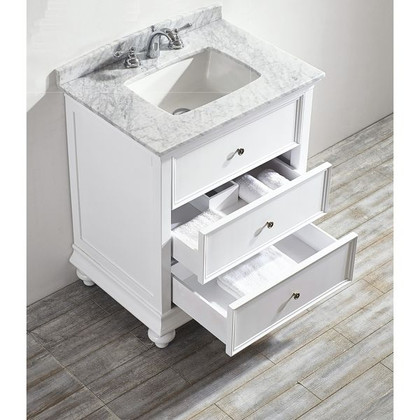 Venice 30 Inch Single Vanity In White With Carrara White Marble Top
