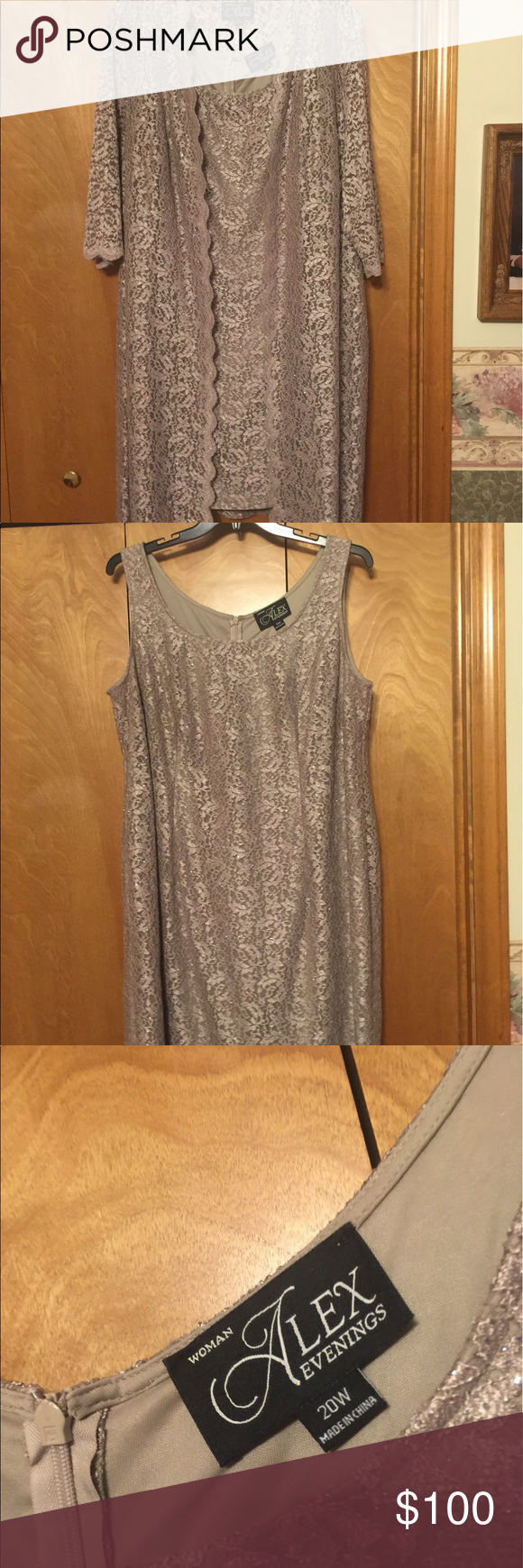 Mother of the bride dresses afternoon wedding  Alex brand evening dress  Taupe colour Taupe and Conditioner