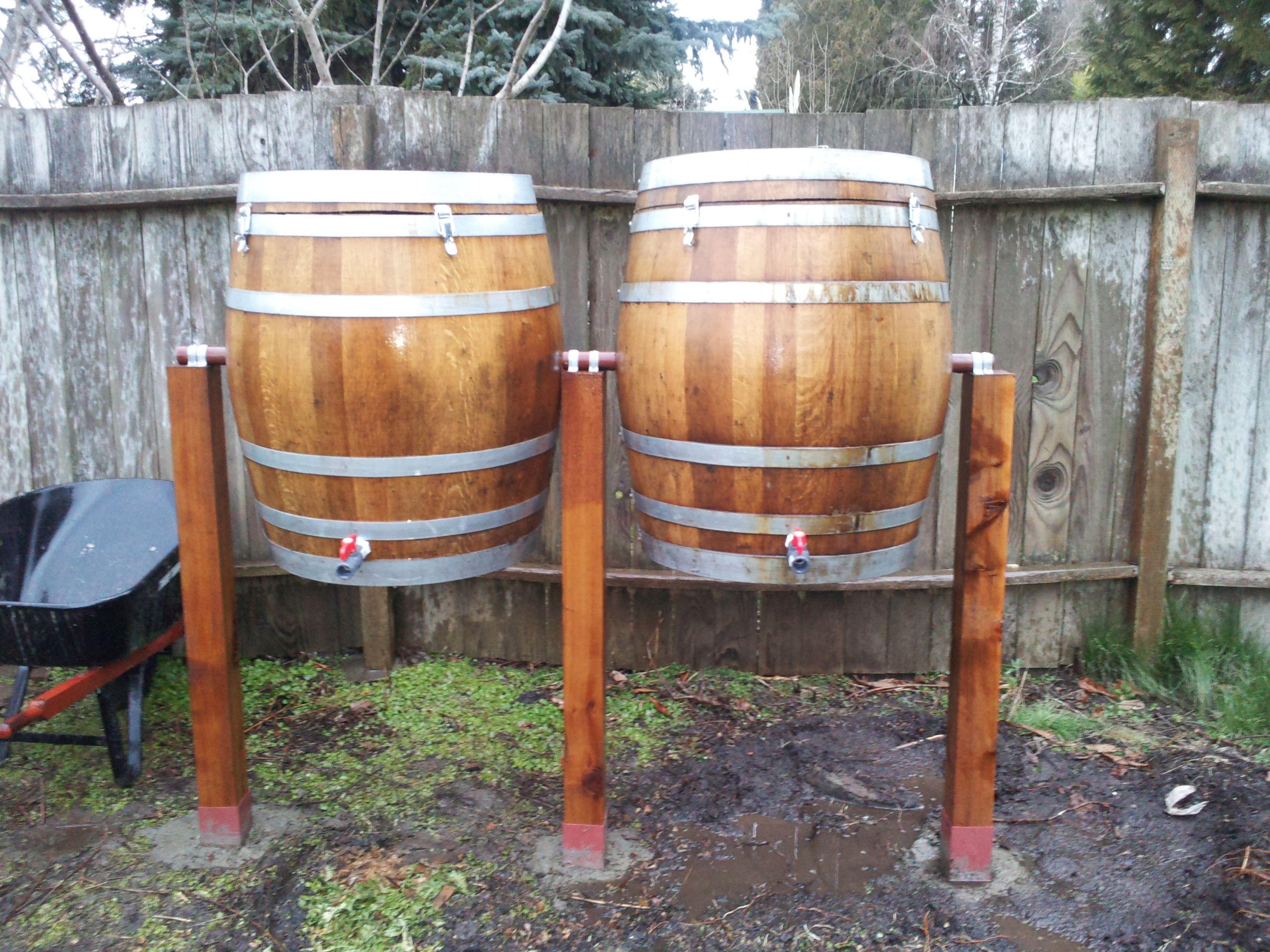 oak wine barrel composters we built for our garden wine barrel