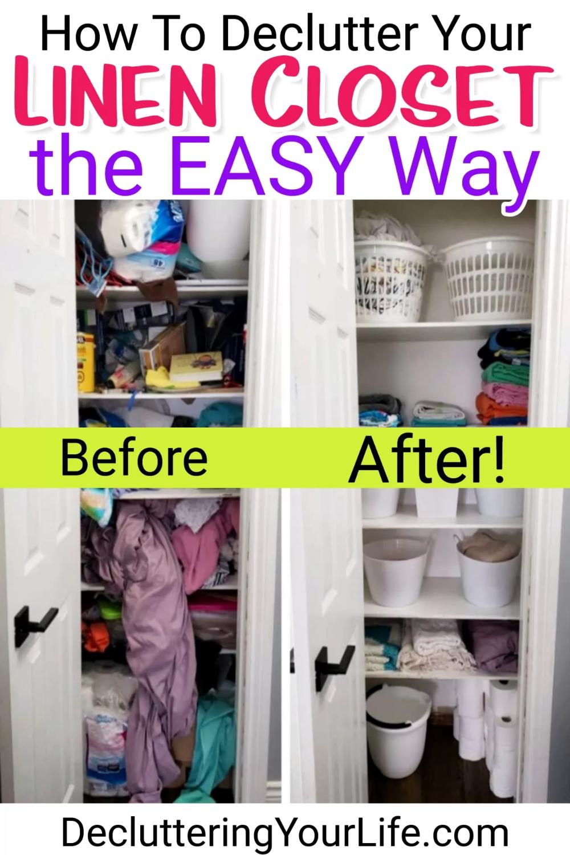 Diy Linen Closet Decluttering And Organization Ideas Decluttering Your Life Closet Organization Diy Small Linen Closets Closet Hacks Organizing