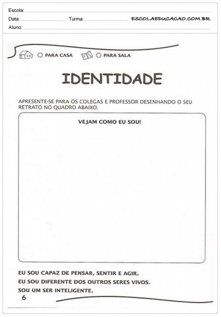 Atividades De Identidade Educacao Infantil Para Imprimir Em