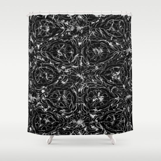 Black And White Astral Paint Pattern Shower Curtain Shower Curtains And Bathroom Accessories Curtains Bathroom Accessories Bathroom