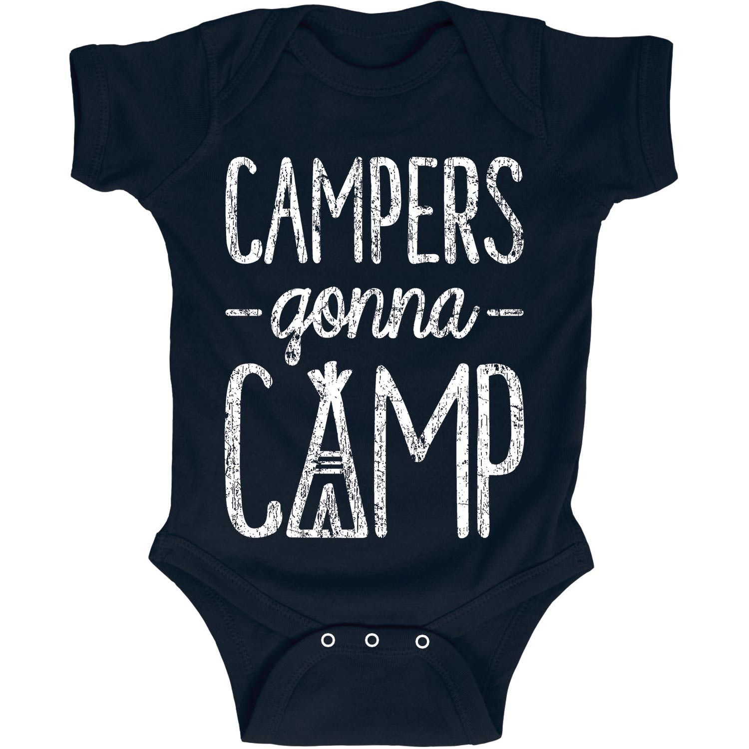 Here's a cool camping idea. Camping shirts for the kids on your next trip! Campers Gonna Camp Infant One Piece Baby Onesie. #campingshirts #camping