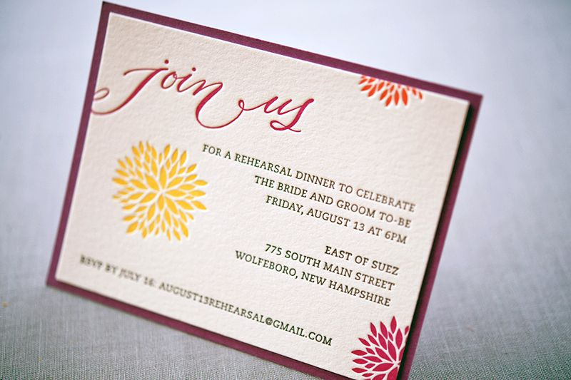 Whitney AKs Colorful Letterpress Wedding Invitations