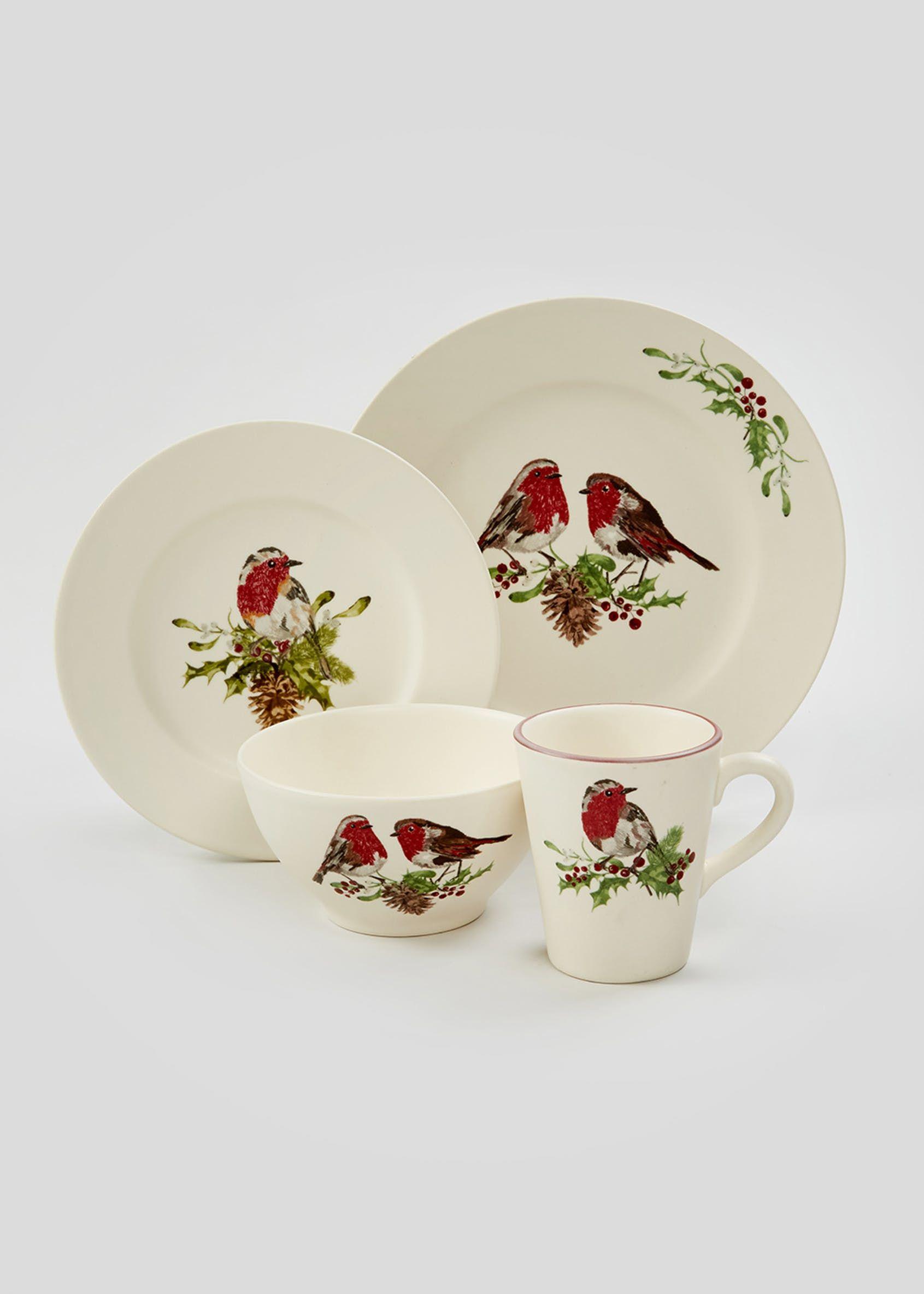 Robin Christmas Mug 10cm X 9cm Cream Christmas Mugs Christmas Sides Christmas Bowl
